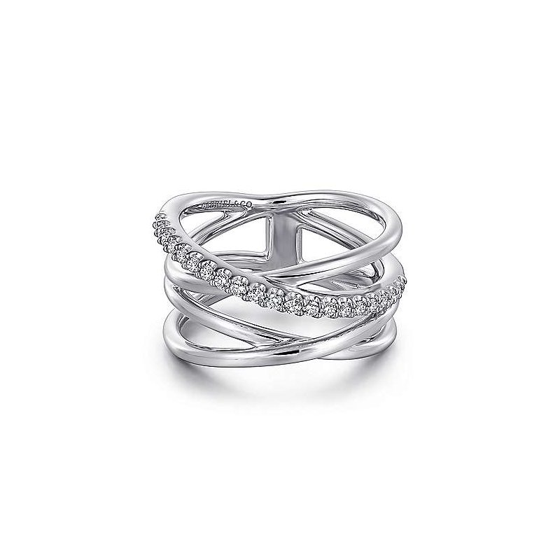 Gabriel & Co SS WHITE SAPPHIRE INTERSECTING RING