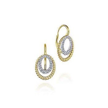 14KTT 0.40TDW TWISTED ROPE OVAL DROP EARRINGS