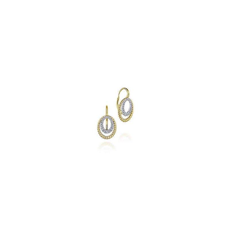 Gabriel & Co 14KTT 0.40TDW TWISTED ROPE OVAL DROP EARRINGS