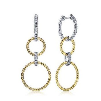 14KTT 0.33TDW TWISTED ROPE & OPEN CIRCLE HUGGIE DROP EARRINGS