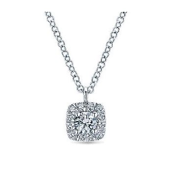 14KW 17.5IN 0.20TDW CUSHION HALO PENDANT NECKLACE