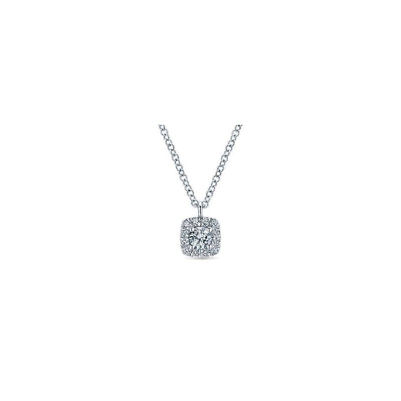 Gabriel & Co 14KW 17.5IN 0.20TDW CUSHION HALO PENDANT NECKLACE