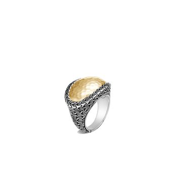 Classic Chain Hammered Ring