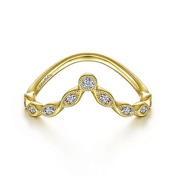 14KY 0.08TDW CURVED MARQUISE SHAPE STATION RING