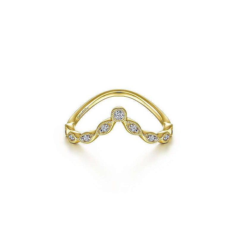 Gabriel & Co 14KY 0.08TDW CURVED MARQUISE SHAPE STATION RING