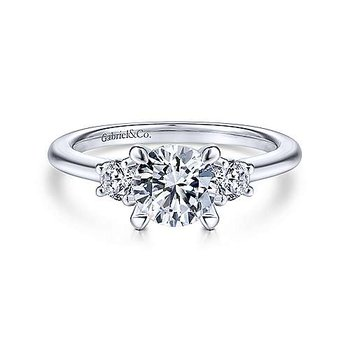 14KW 0.28TDW RND 3 STONE SEMI-MOUNT ENGAGEMENT RING