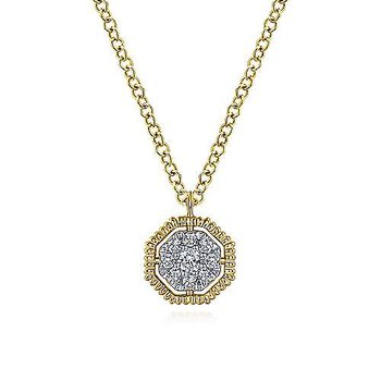 14KY 17.5IN 0.08TDW OCTAGONAL PAVE PENDANT NECKLACE