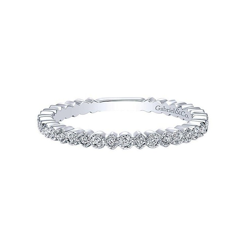 Gabriel & Co 14KW SZ 6.5 0.14TDW SCALLOPED STACKABLE BAND