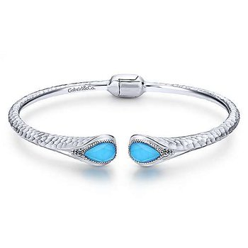 SS 7IN ROCK CRYSTAL & TURQUOISE SPLIT BANGLE