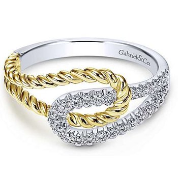 14KTT SZ 6.5 0.20TDW INTERLOCKING LOOPS FASHION RING
