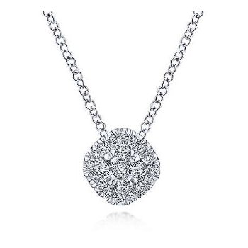14KW 18IN 0.22TDW PAVE CUSHION PENDANT NECKLACE
