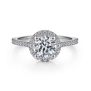 14KW 0.28TDW RND HALO SEMI-MOUNT ENGAGEMENT RING
