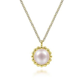 14KY 17.5IN CULTURED FW PEARL BUJUKAN BEADED FRAME PENDANT NECKLACE