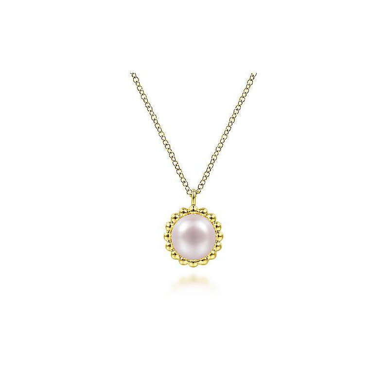 Gabriel & Co 14KY 17.5IN CULTURED FW PEARL BUJUKAN BEADED FRAME PENDANT NECKLACE