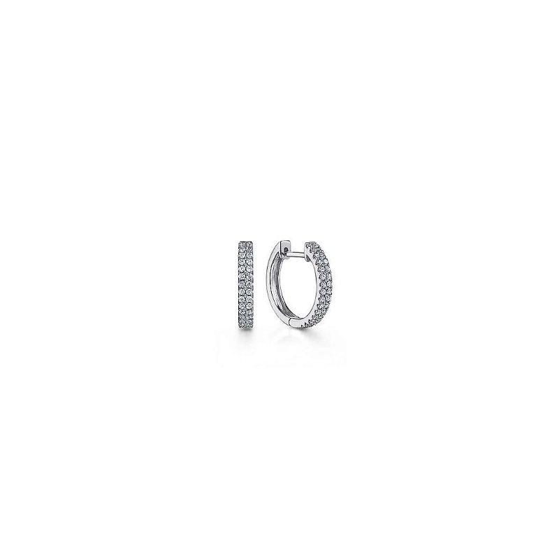 Gabriel & Co 14KW 0.29TDW 10MM CLASSIC HUGGIE HOOP EARRINGS