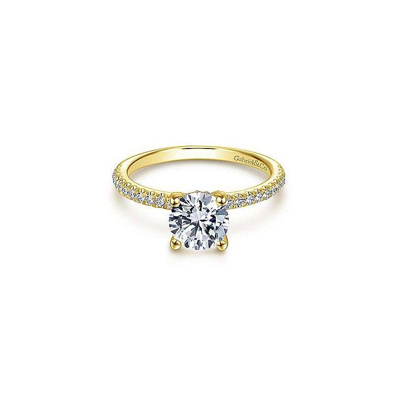 Gabriel & Co 14K Yellow Gold Round Diamond Engagement Ring