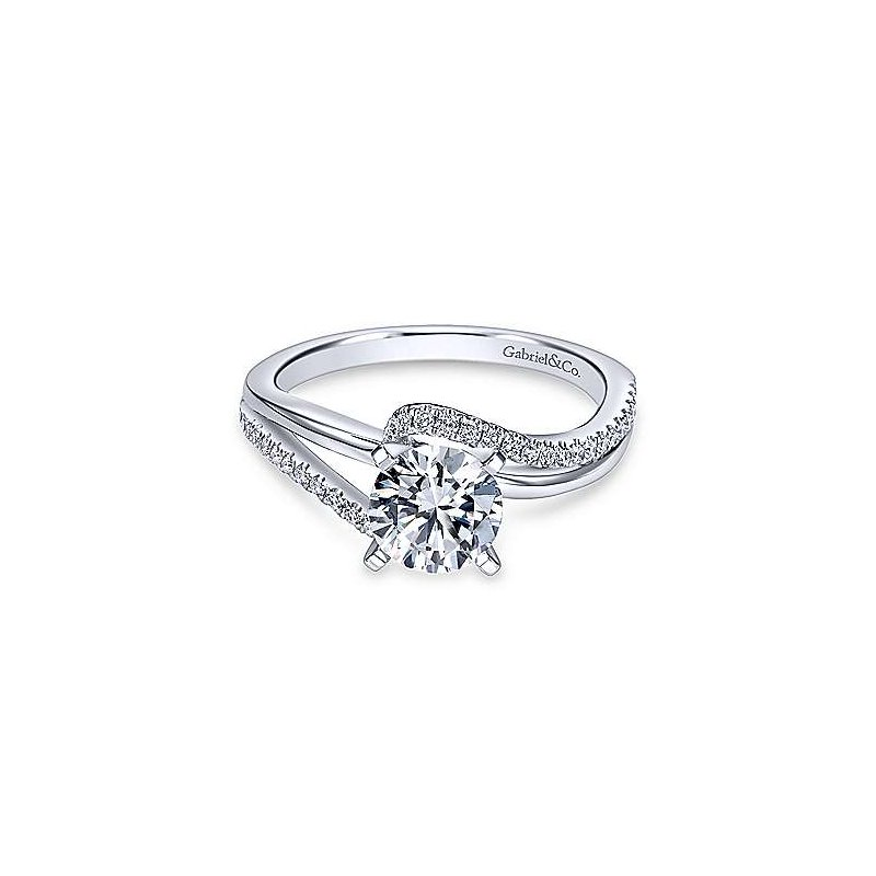 Gabriel & Co 14K White Gold Round Bypass Diamond Engagement Ring