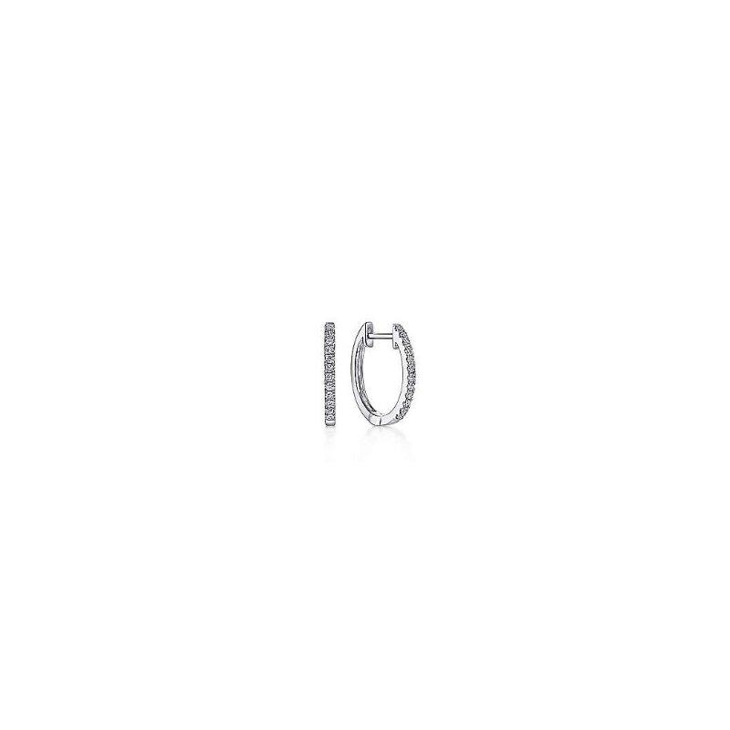 Gabriel & Co 14KW 0.18TDW 10MM PAVE HUGGIE HOOP EARRINGS
