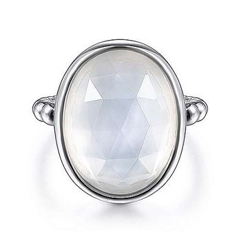 SS ROCK CRYSTAL & WHITE MOP OVAL RING