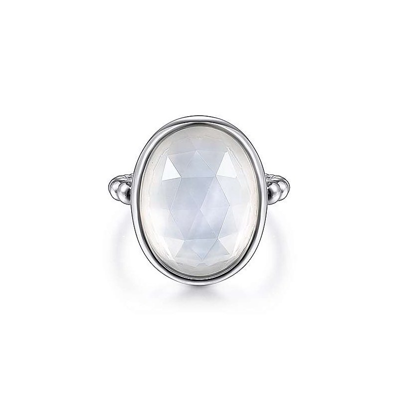 Gabriel & Co SS ROCK CRYSTAL & WHITE MOP OVAL RING