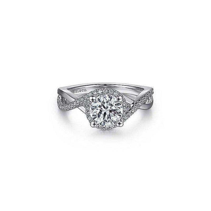 Gabriel & Co 14K White Gold Round Halo Diamond Engagement Ring