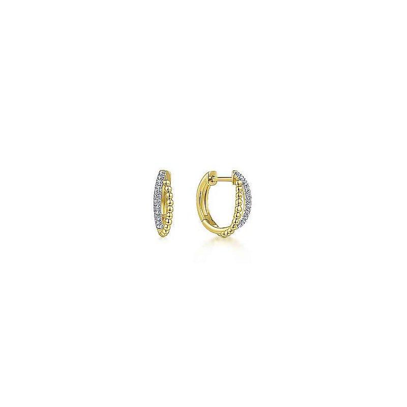 Gabriel & Co 14KY 0.11TDW TWISTED PAVE HUGGIE HOOPS