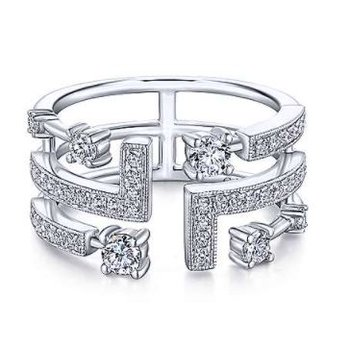 14KW SZ 6.5 0.70TDW LINEAR FASHION RING
