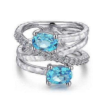 SS MULTI ROW BLUE TOPAZ & 0.35TW WHITE SAPPHIRE RING