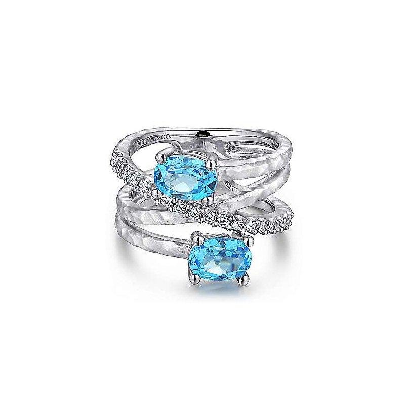 Gabriel & Co SS MULTI ROW BLUE TOPAZ & 0.35TW WHITE SAPPHIRE RING