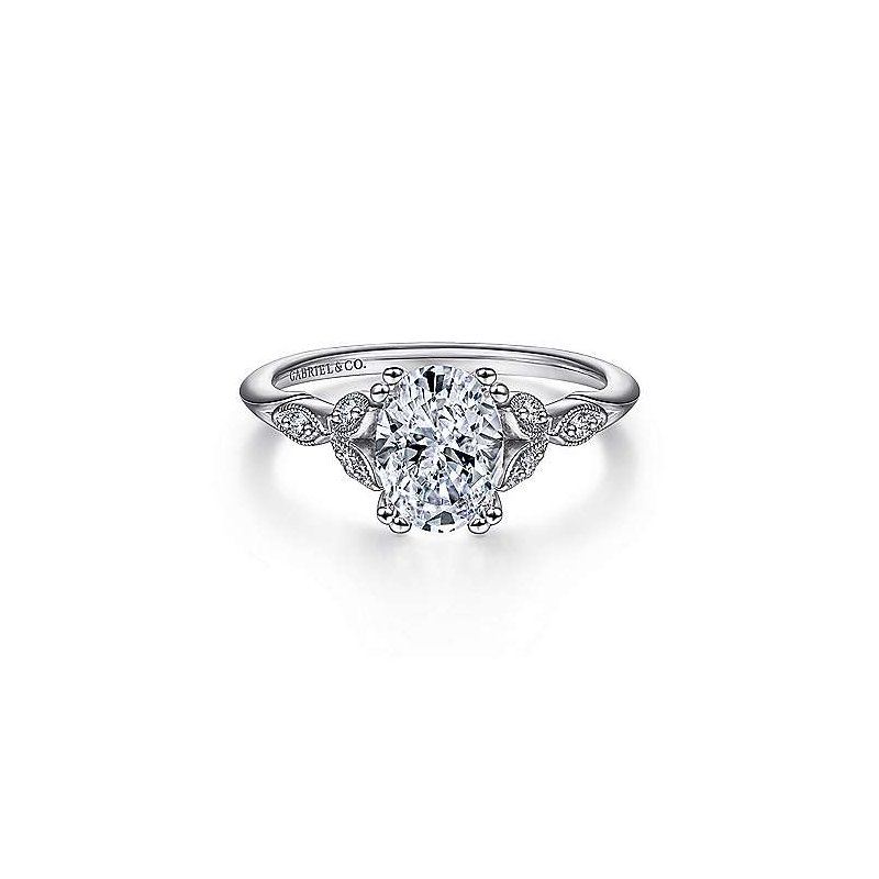 Gabriel & Co 14K White Gold Oval Diamond Engagement Ring