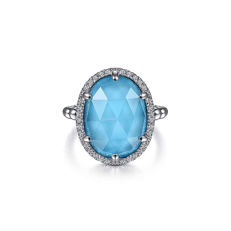 Gabriel & Co SS OVAL ROCK CRYSTAL & TURQUOISE & 0.26TW WHITE SAPPHIRE HALO RING