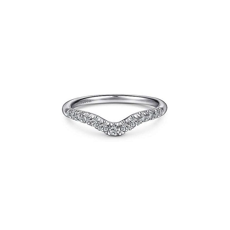 Gabriel & Co 14KW 0.25TDW FRENCH PAVE SET CURVED WEDDING BAND