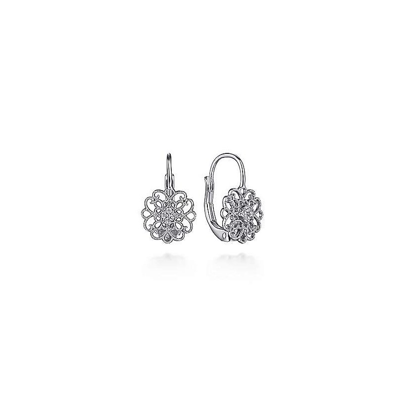 SS 0.07TW WHITE SAPPHIRE VINTAGE INSPIRED OPENWORK DROP EARRINGS