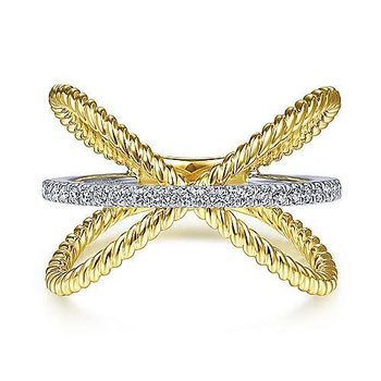 14KTT SZ 6.5 0.15TDW TWISTED CRISS CROSS X SHAPED RING