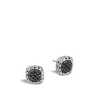 Classic Chain Stud Earring with Black Sapphire