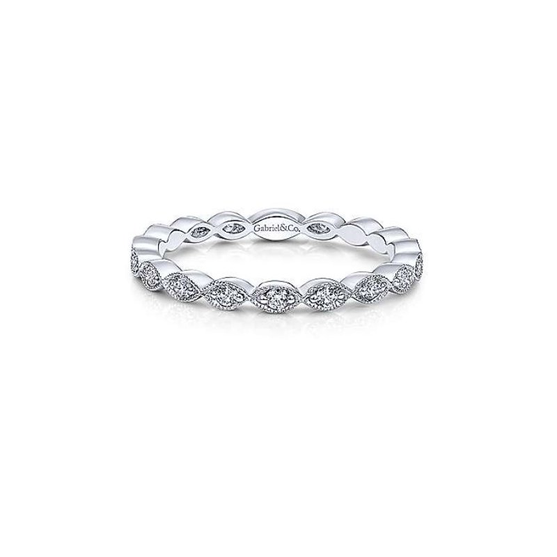 Gabriel & Co 14KW SZ 6.5 0.25TDW MARQUISE STATION STACKABLE RING