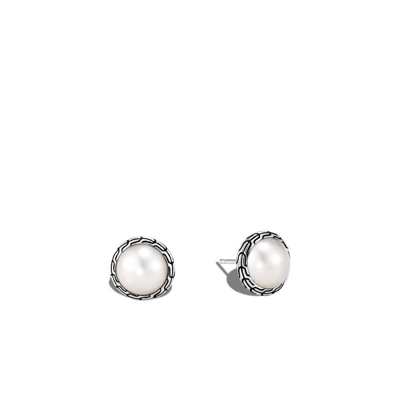 John Hardy SS CC 9.5-10MM MABE FWP STUD EARRINGS