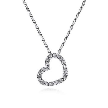 14KW 16IN 0.10TDW PAVE OPEN HEART NECKLACE