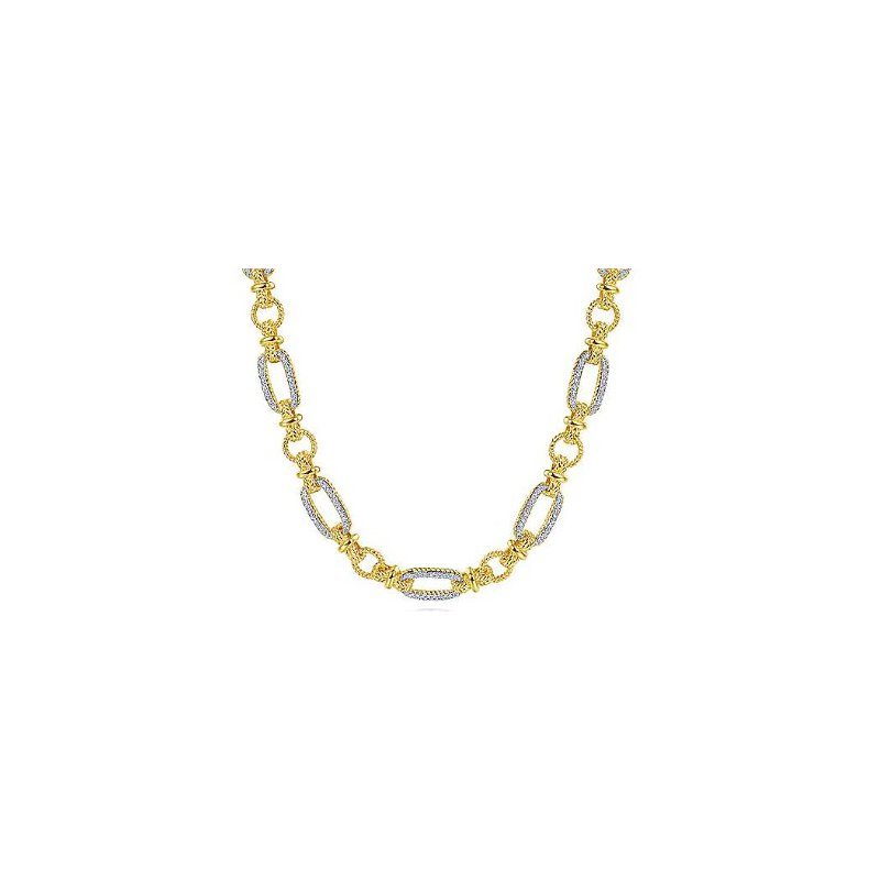 Gabriel & Co 14KTT 16IN 0.77TDW OVAL & TWISTED ROPE LINK PAVE NECKLACE