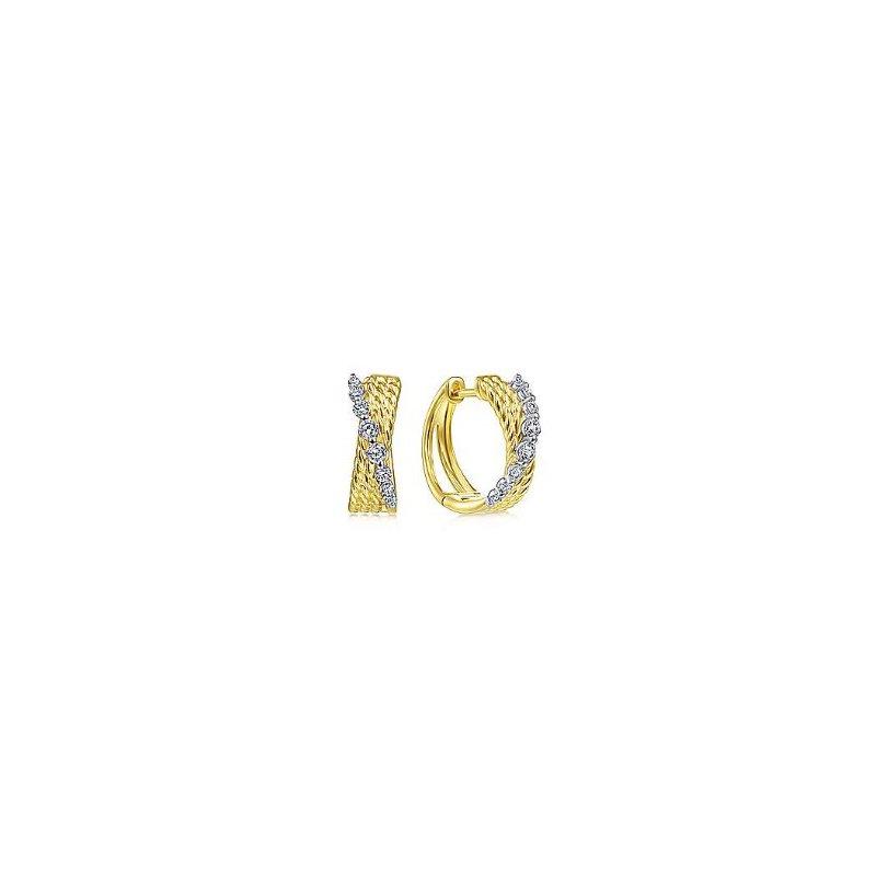 Gabriel & Co 14KTT 0.25TDW 15MM TWISTED HUGGIE HOOP EARRINGS
