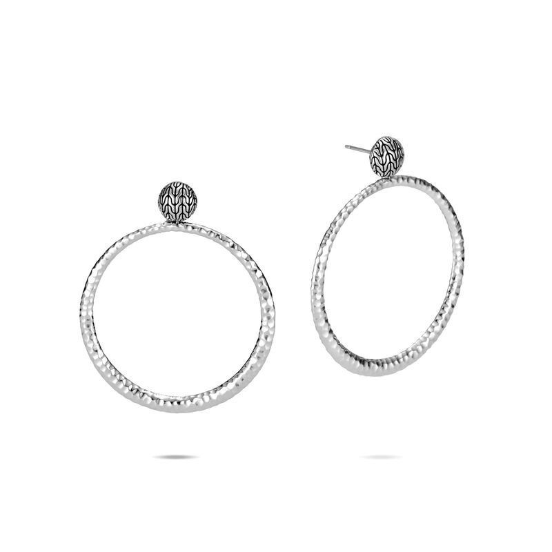 John Hardy SS CC HAMMERED 58MM ROUND EARRINGS