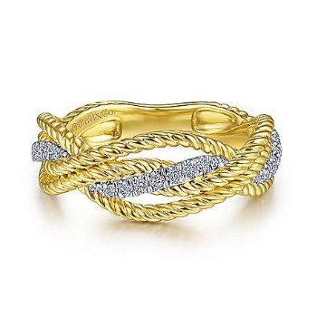 14KTT SZ 6.5 0.16TDW TWISTED ROPE & INTERSECTING RING
