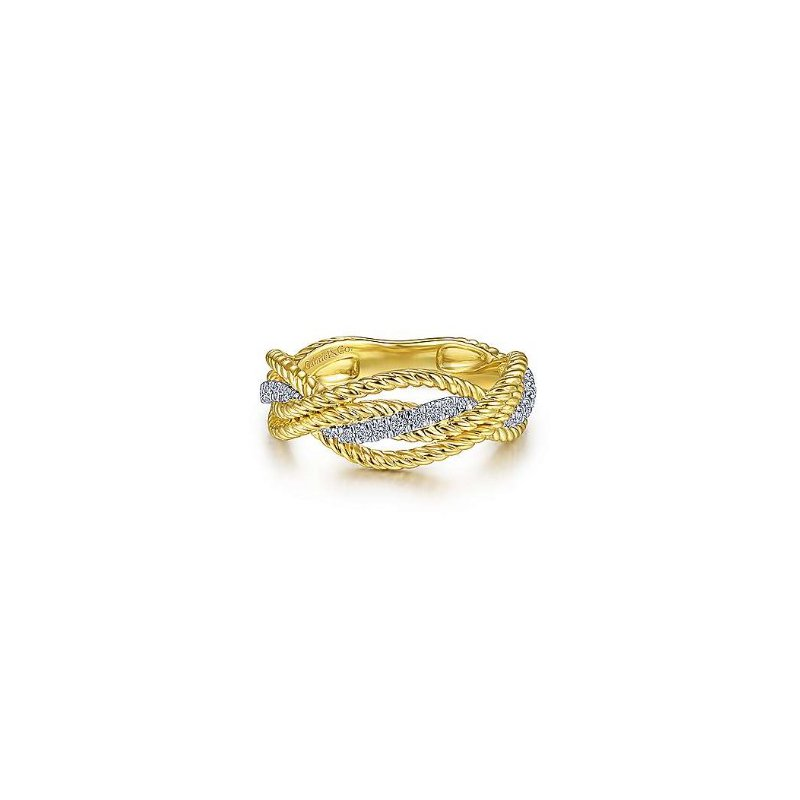 Gabriel & Co 14KTT SZ 6.5 0.16TDW TWISTED ROPE & INTERSECTING RING