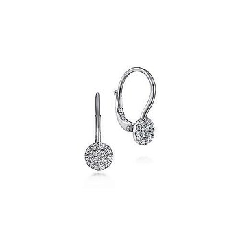 14KW 0.13TDW ROUND PAVE DROP EARRINGS