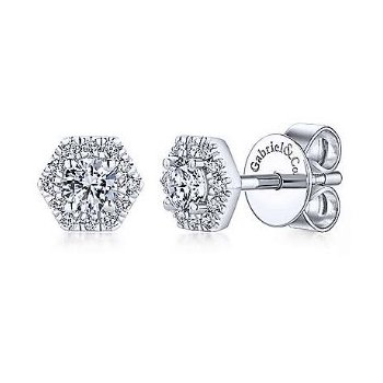 14KW 0.50TDW HEXAGONAL HALO STUD EARRINGS