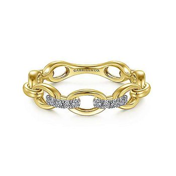 14KY 0.05TDW OVAL CHAIN LINK RING