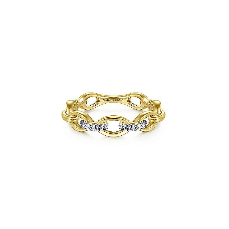 Gabriel & Co 14KY 0.05TDW OVAL CHAIN LINK RING