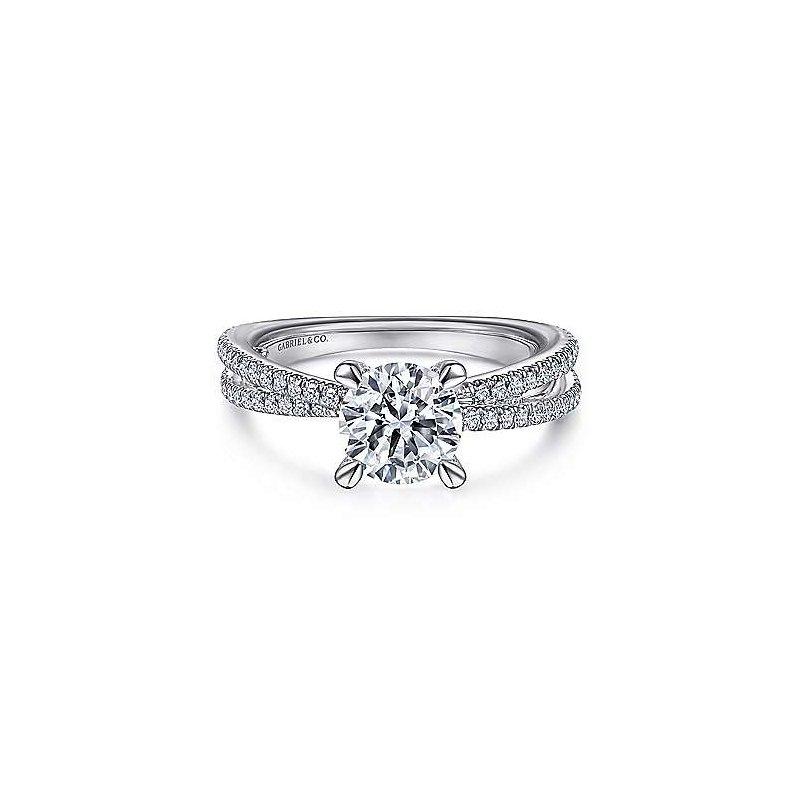 Gabriel & Co 14K White Gold Split Shank Round Diamond Engagement Ring