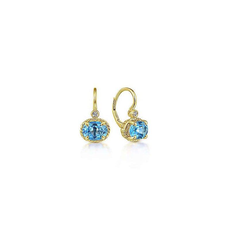 Gabriel & Co 14KY 0.03TDW & 2.76TW OVAL SWISS BLUE TOPAZ LEVERBACK EARRINGS