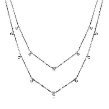 14KW 15.5IN 0.25TDW 2 ROW DROPS NECKLACE